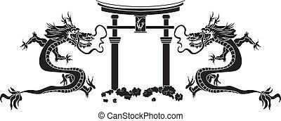 torii, e, asiático, dragões