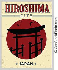 Torii gate from Hiroshima poster - Torii gate from Hiroshima...