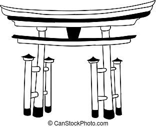 Torii Gate, Japanese VECTOR Landmark, Outline Drawing, Icon...