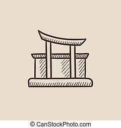 Torii gate sketch icon.