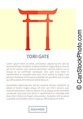 Torii Gate Web Page and Text Vector Illustration - Torii...