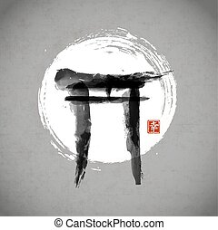 Torii gates and the Moon hand-drawn with ink in traditional Japanese style sumi-e Contains hieroglyph - happiness.