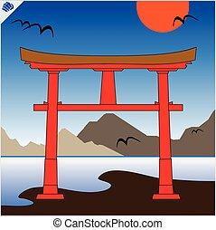 torii., giappone, cancello
