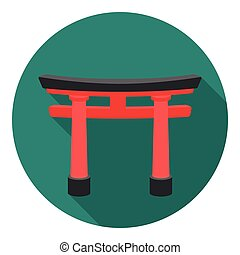 Torii icon in flat style isolated on white background....