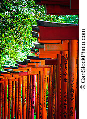 Torii in shinto shrine, Tokyo