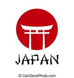 torii japan traditional gate vector illustration