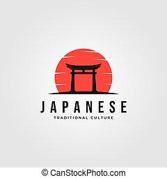 torii logo japanese culture symbol vector illustration design, tori logo design