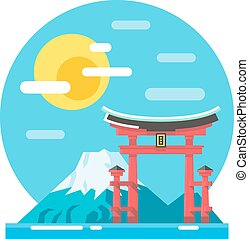 Torii shrine flat design landmark illustration vector