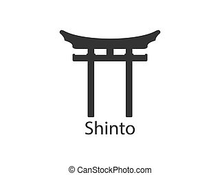 torii, vecteur, shinto, illustration, japonaise, design.,...