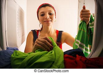 torka, kvinna, hushållning, tagande, tork, hem, kläder