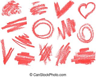 torka, läppstift, slaglängder, set., grov, doodles, borsta, ...