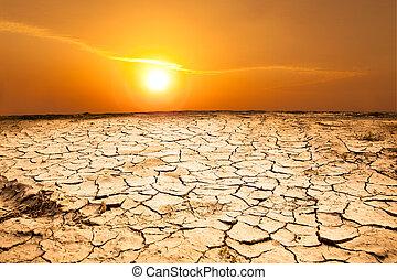 torka, land, och, het uthärda