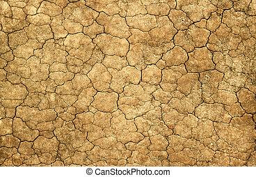 torka, naturlig, lera, abstrakt, bakgrund., knäckt