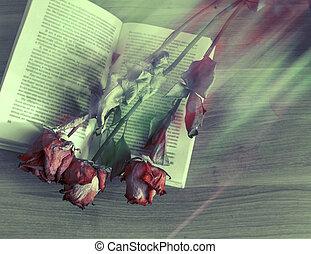 torkade blommor, lögn, på, a, bok