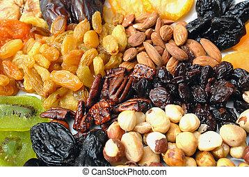 torkat, nötter, och, frukter, kollektion