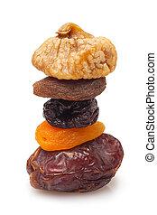 torkat, stack, frukter
