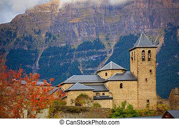 Torla Church in Pyrenees Ordesa Valley at Aragon Huesca ...