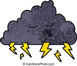 tormenta, caricatura, nube