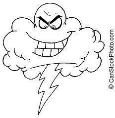 tormenta, contorno, nube