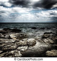 tormenta, después, efecto, lluvia, retro, mar