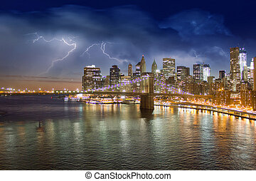 tormenta, en, el, noche, encima, puente de brooklyn, ciudad nueva york
