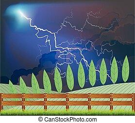 tormenta, escena, país, rural
