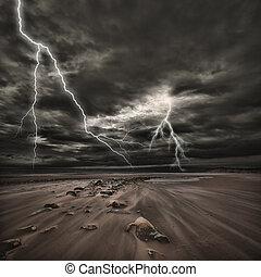 tormenta, mar, relámpago