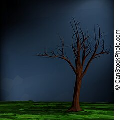 tormenta, paisaje árbol, resumen