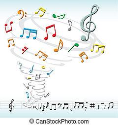 tornádó, hangjegy, zene