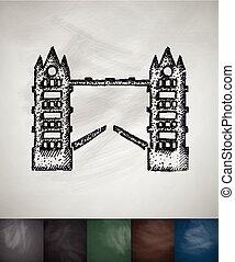 torn överbrygg, icon., hand, oavgjord, vektor, illustration