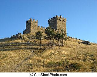 torn, av, genoa, fästning, in, sudak, crimea