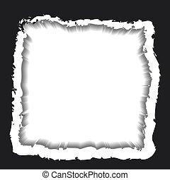Torn black paper edges frame. Vector illustration