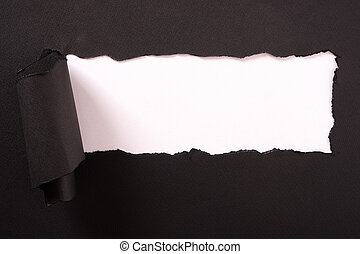 Torn black paper strip white background curled edge