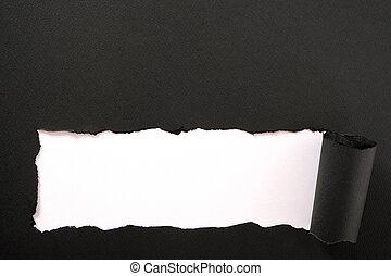 Torn black paper white background straight