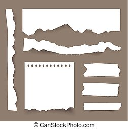 Torn blank paper sheets. Vector note pieces collection with sticky tape.