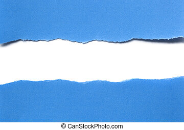 Torn Blue Paper with Horizontal White Strip Beneath - Blue...
