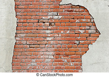 torn brick wall background - brick wall revealed