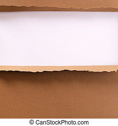 Torn brown paper background frame