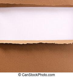 Torn brown paper background frame
