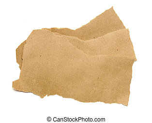 torn brown paper isolated on white background.