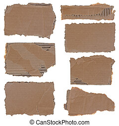Torn cardboard pieces set - Collection of seven torn...