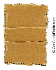 Torn cardboard - Textured cardboard with torn edges isolated...