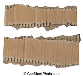 Torn Cardboard Strips - Two strips of corrugated cardboard...
