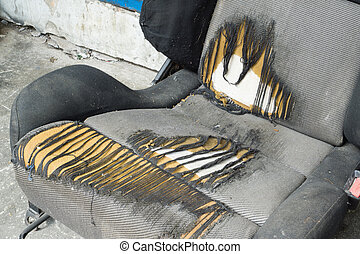 Torn cloth seat - Old and damage torn car vehicle seat