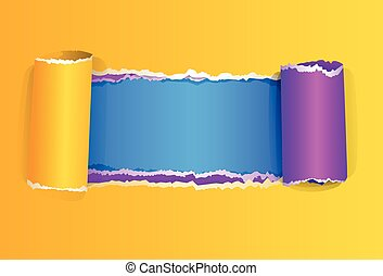 Torn color wrapped paper with space vector illustration