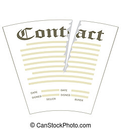 Torn contract - Illustration of torn the paper contract form