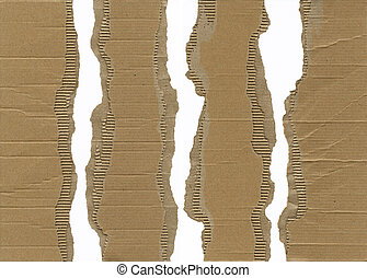 Pieces of torn brown corrugated cardboard, very detailed