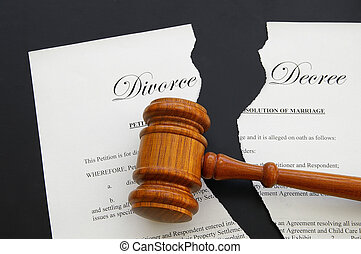 torn divorce decree and legal gavel (gavel is sharp)