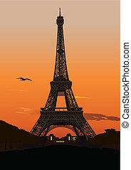 torn, eiffel, solnedgång