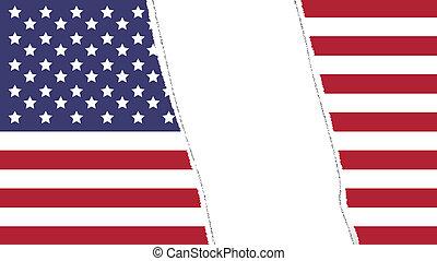 torn flag of USA